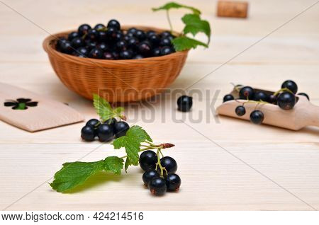Still Life With Black Currants In A Rustic Style