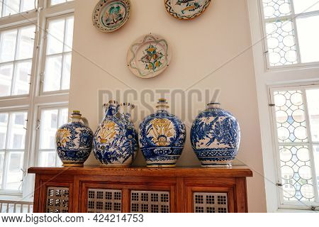 Castle Interior, Large Porcelain Vases Standing In Corridor On Wooden Cabinet, Blue-white And Yellow