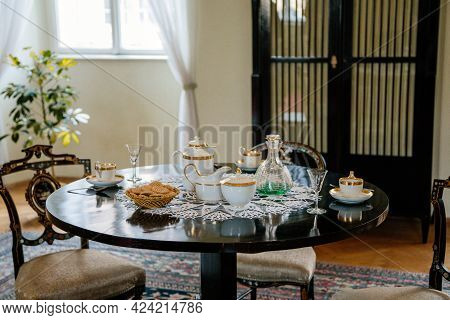 Castle Interior, Empire Style Black Wood Carved Furniture, Table And Chairs Near Windows, Porcelain
