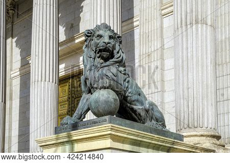Madrid, Spain - November 10, 2019: Lion Statue Entrance To Congress Of The Deputies Madrid Spain Gov