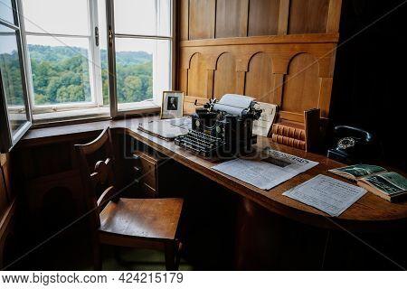 Castle Interior, Wooden Writing Desk, Table Near Windows, Black Vintage Antique Typewriter, Blank Sh