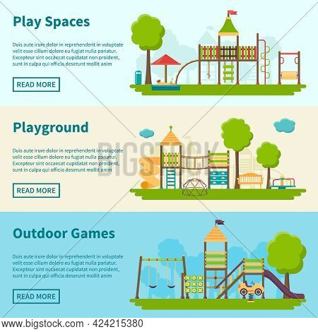 Horizontal Color Banners With Title And Information Field About Playgrounds For Outdoor Games Vector