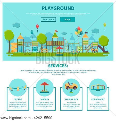Color Illustration Web Site Page About Outdoor Games Showing Different Playground Services Seesaw Sa