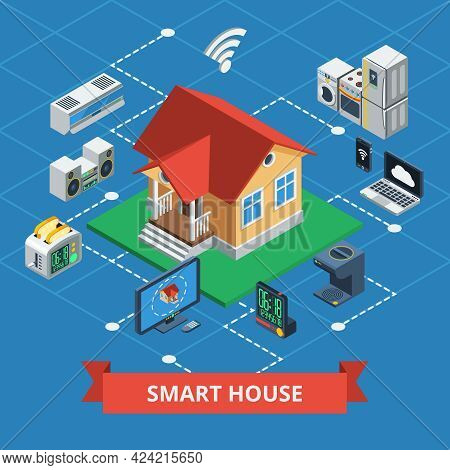Smart House Isometric Concept With Variants Of Wireless Domestic Device Control On Plot Style Backgr