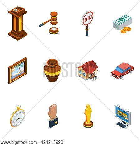 Isometric Auction Isolated Icon Set With Different Elements Of Bid Process Vector Illustration