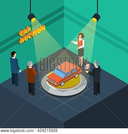 Isometric Car Auction Process Abstract With Bidding People Looking At The Car Presented Vector Illus