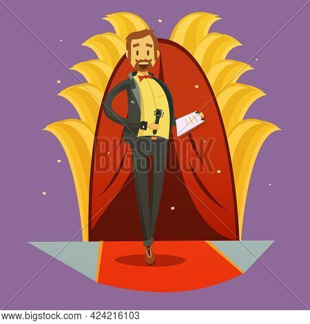 Journalist Picture Retro Cartoon Stand Up And Humorous Speech Style Vector Illustration