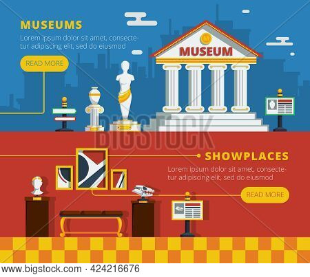 Museum Banner Set With Museum Abstract Flat Outside View And Conceptual Interior Of Exhibition Vecto