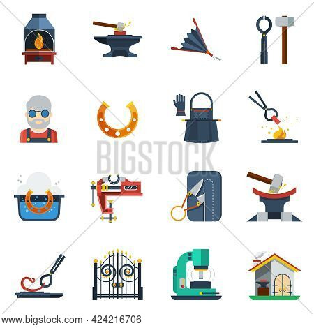 Blacksmith Flat Color Icons Set With Hammer  Anvil Tongs Clamp Horseshoe Isolated Vector Illustratio