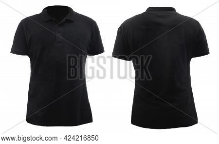 Blank Collared Shirt Mock Up Template, Front And Back View, Plain Black T-shirt Isolated On White. P