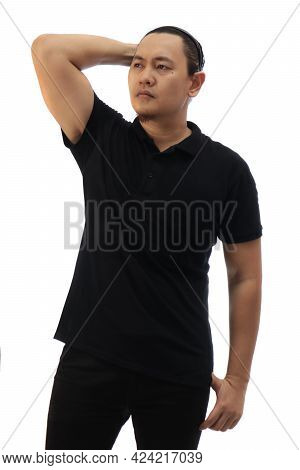 Blank Collared Shirt Mock Up Template, Front View, Asian Male Model Wearing Plain Black T-shirt Isol