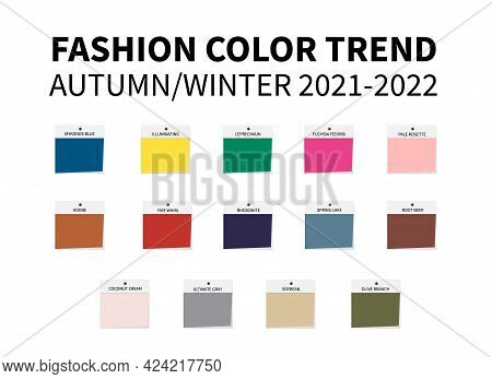 Fashion Color Trend Autumn Winter 2021 - 2022. Trendy Colors Palette Guide. Fabric Swatches. Easy To