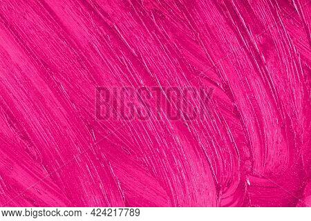 Purple Cosmetics Smear Pattern. Beauty Product Sample Closeup. Liquid Lipstick Cosmetic. Pink Swatch