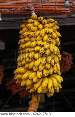 Ripe Bunch Of Yellow Bananas For Sale In A Roadside Stand In Ella Sri Lanka