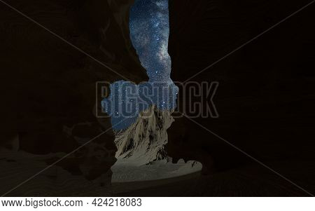 Milky Way In The Narrow Rock Gorge, Valley Scenery, 3d Rendering. Computer Digital Drawing.