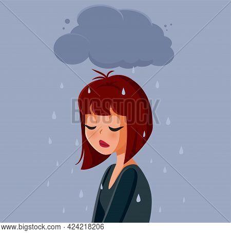 Sad Anxious Woman Feeling Depressed Vector Illustration