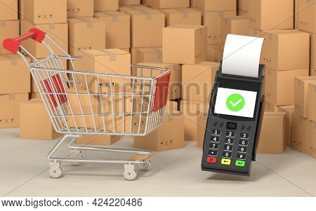 Shopping Cart With Cardboard Boxes Inside, 3D Rendering.