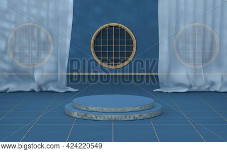 Empty Chinese Traditional Room, 3D Rendering.
