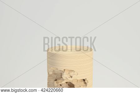 Empty Wood Cylinder Stage With White Background, 3D Rendering.