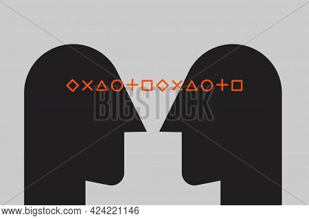 Logo Of Empathy, Emotional Intelligence. Two Profiles And Relationship Between Them. Icon Of Therapy