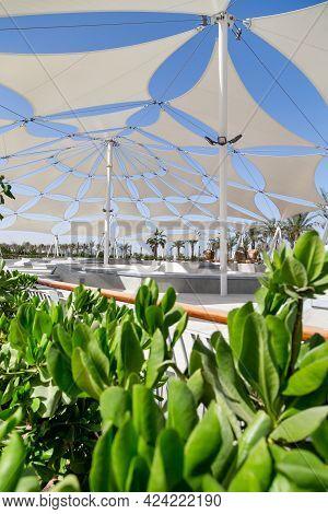 March 26, 2021 - Abu Dhabi, Uae: Empty Skating Park In Yas Island, Abu Dhabi, Uae With Greenery On F