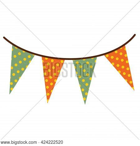 Festive Garland Vector Icon. Polka Dot Triangular Flags. A Cute Standard On A Rope. Isolated Pennant