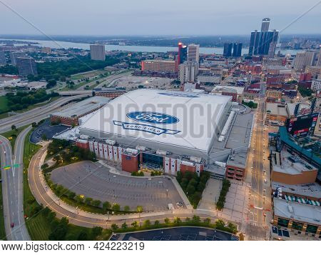 June 10, 2021 - Detroit, Michigan, USA: Ford Field is a domed American football stadium located in Downtown Detroit. It primarily serves as the home of the Lions of the National Football League