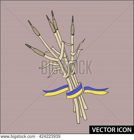 Ears Of Wheat Entwined With A Ribbon Symbol Of Peaceful Life On The Background Of War