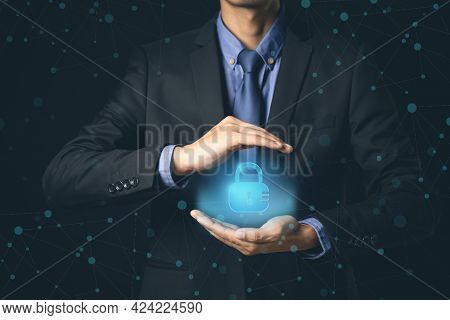 Cyber Security Businessman Technology Antivirus Alert Protection Security And Cyber Security Firewal