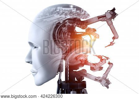 Mechanized Industry Robot And Robotic Arms Double Exposure Image . Concept Of Artificial Intelligenc