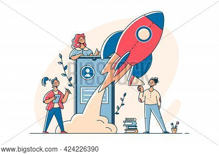 Female Team Launch Successful Startup Vector Illustration. Space Rocket Flies Up From Phone Flat Sty