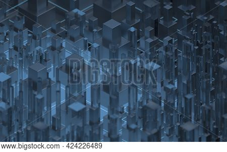 Technological Cubes With Black Background, 3D Rendering.