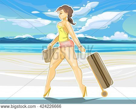 Pretty Girl Goes On Vacation. Seaside With A Beach And White Sand. Beautiful Woman With A Suitcase A