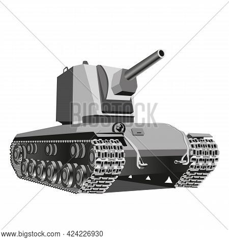 Vector Black And White Illustration Of Heavy Tank. Vector Illustration.