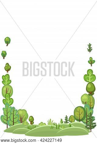 Flat Forest. Frame. Illustration In A Simple Symbolic Style. Funny Green Landscape. Comic Cartoon De