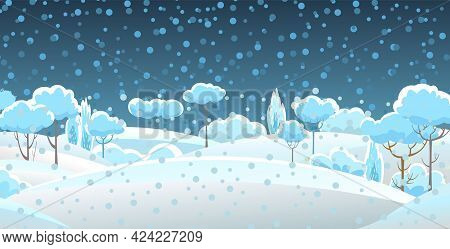 Rural Winter. Snowy Beautiful Landscape. Night. Cartoon Style. Snowdrifts. Hills And Trees. Snow. Fr