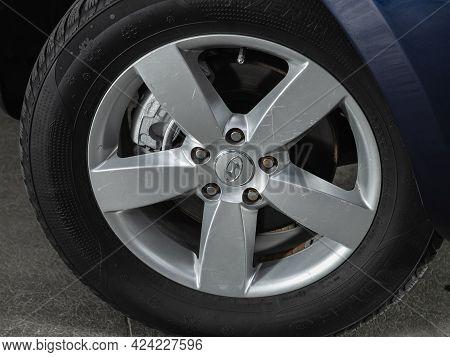 Novosibirsk, Russia - June 19, 2021:hyundai Santa Fe, Close-up Of The Bumper, Wheel, Car Detailing
