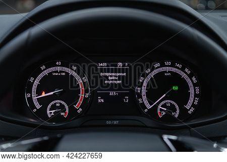 Novosibirsk, Russia - June 19, 2021: Skoda Karoq, Close Up Instrument Automobile Panel With Odometer