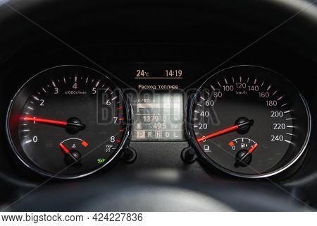 Novosibirsk, Russia - June 19, 2021: Nissan Qashqai, Close Up Instrument Automobile Panel With Odome
