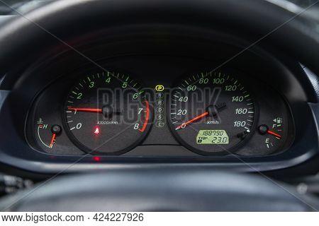 Novosibirsk, Russia - June 19, 2021: Mazda Demio, Close Up Instrument Automobile Panel With Odometer