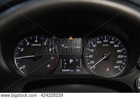 Novosibirsk, Russia - June 19, 2021: Mitsubishi Outlander, Close Up Instrument Automobile Panel With