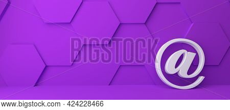 Fine 3d Concept With A White @ (at) Icon In A Modern Purple Hexagon Room With Space For Text