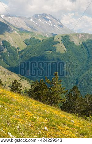Panoramic View Of Vettore Mountain From Frontignano In The Marche Region, Italy