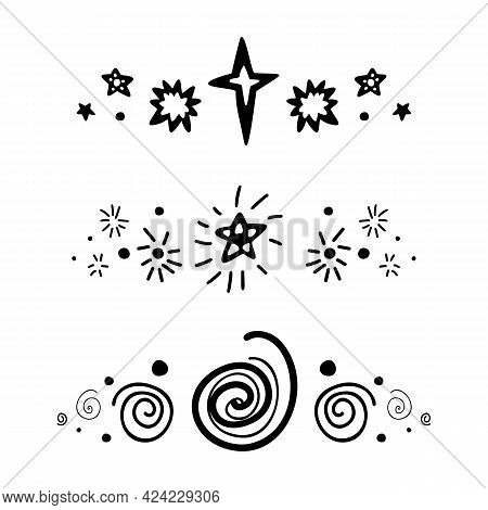 Set Of Spacers With Black Silhouette Stars, Dots And Spiral. Vector Space Design Element. Hand Drawn