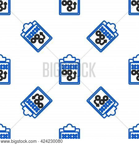 Line Planning Strategy Concept Icon Isolated Seamless Pattern On White Background. Soccer Or America