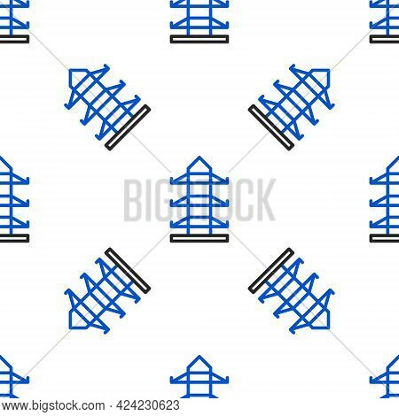 Line Electric Tower Used To Support An Overhead Power Line Icon Isolated Seamless Pattern On White B