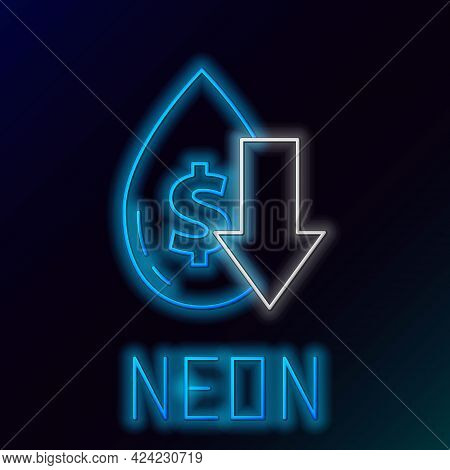 Glowing Neon Line Drop In Crude Oil Price Icon Isolated On Black Background. Oil Industry Crisis Con