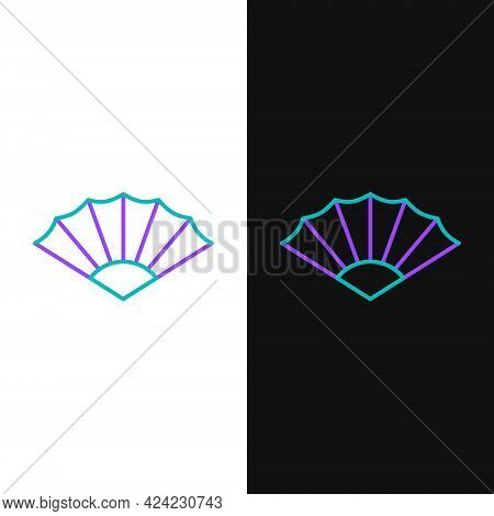 Line Traditional Paper Chinese Or Japanese Folding Fan Icon Isolated On White And Black Background.