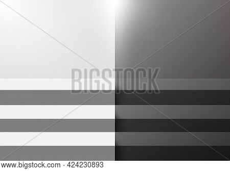 3d Black And White Step Stair Studio Room Blank Background With Lighting For Display Product Exhibit