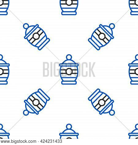 Line Funeral Urn Icon Isolated Seamless Pattern On White Background. Cremation And Burial Containers
